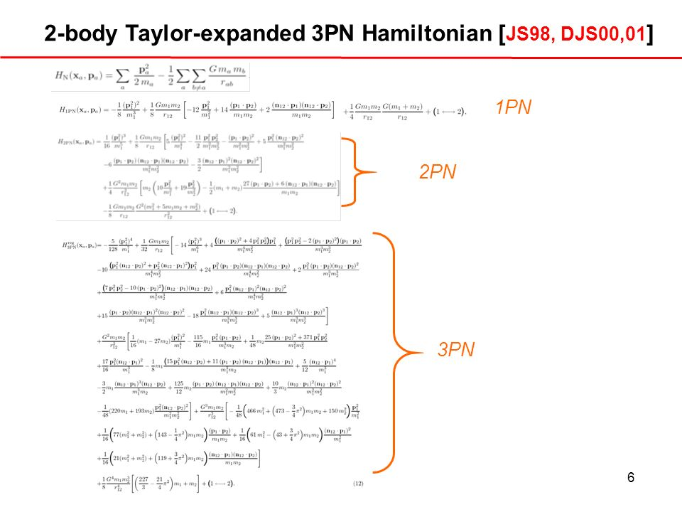 2-body Taylor-expanded 3PN Hamiltonian [JS98, DJS00,01]